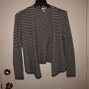 Plus Size Black & White Stripe Cardigan Sweater